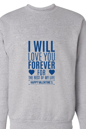 Forever Valentine's Day Blue Print Gray Sweatshirt