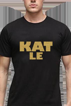 Funky Golden Glitter Black Round Neck Cotton Effit T-Shirt