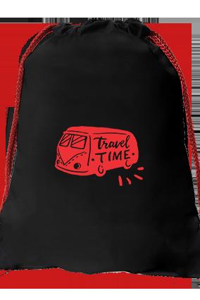 Time Travel Black Gym Sack Bag