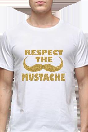 Respect Loyalty Golden Glitter White Round Neck Cotton Effit T-Shirt