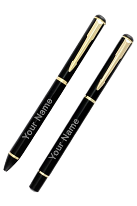 Black with Gold Ball+Roller Pen-9011