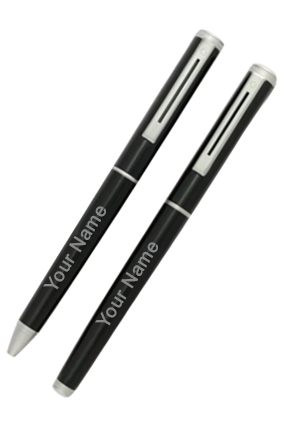 Black with Silver Ball+Roller Pen-9014