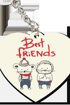 Simple White Heart Key Chain