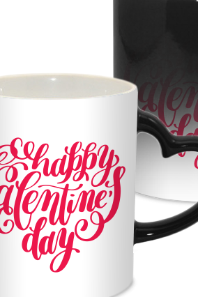 Heart Shape Valentine Day Heart Handle Black Magic Mug