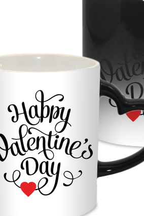 Boy Valentine Day Heart Handle Black Magic Mug