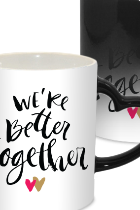 Better Together Valentine Day Heart Handle Black Magic Mug