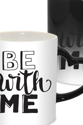 Be with Me Valentine Day Heart Handle Black Magic Mug