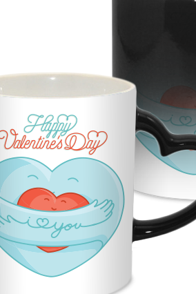 Blue Heart Valentine Day Heart Handle Black Magic Mug