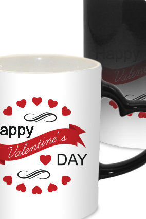 Circle Shape Valentine Day Heart Handle Black Magic Mug