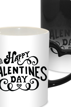 Happy Valentine Day Heart Handle Black Magic Mug