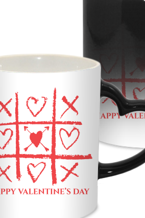 I Love Valentine Day Heart Handle Black Magic Mug