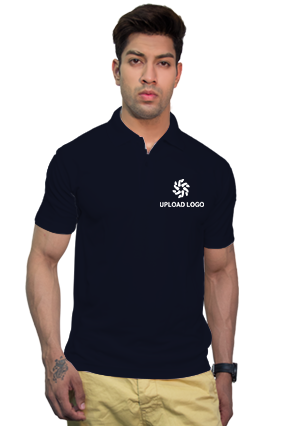 160GSM - Create Your Own Navy Blue Collar Dry-Fit T-Shirt