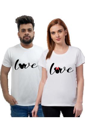 Matching Pair of Love Black Cotton Half Sleeve Couple T-Shirt