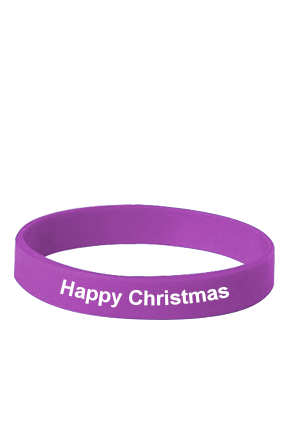Happy Christmas Purple Silicon Wristband