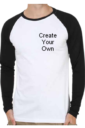 160GSM - Create Your Own Raglan Sportswear Drifit Dotnet Round Neck White Full Sleeve Men T-Shirt