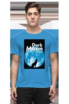 Dark Moon Blue Round Neck Cotton T-Shirt
