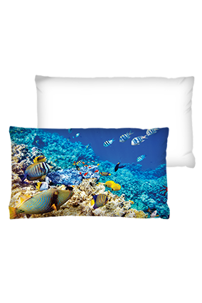Under Sea World Velvet Rectangular White Cushion