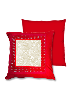 Golden Paisley Pattern Red Square Cushion