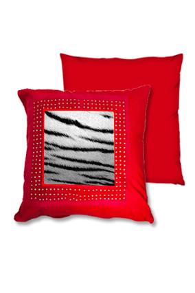 Silver Lion Fur Red Square Cushion