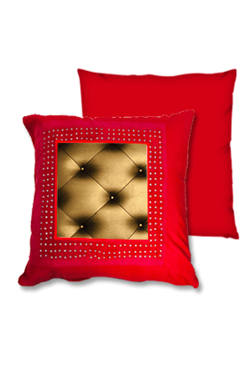 Goldish-Bronze Color Pillow Sheet Red Square Cushion