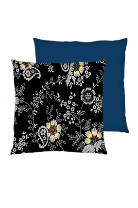 Black Floral Background Polyester Square Shape Navy Blue Cushion