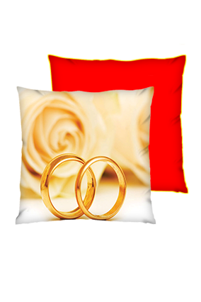 Couple Ring Background Polyester Square Red With Yellow Piping Cushion