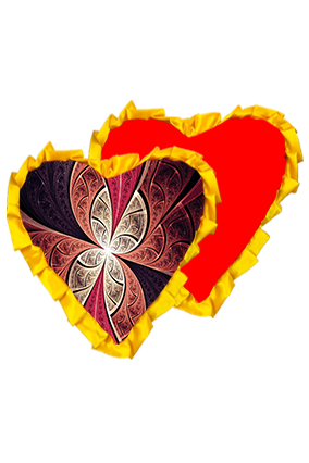 Abstract Art Velvet Heart Shape Red With Yellow Ribbon Cushion