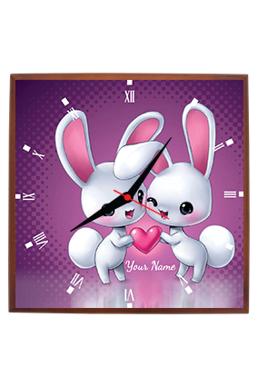 Adorable Bunnies Square Wall Clock