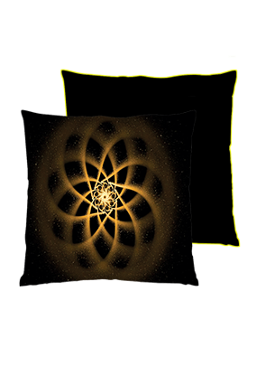 Spritual Circle Square Black With Yellow Piping Cushion
