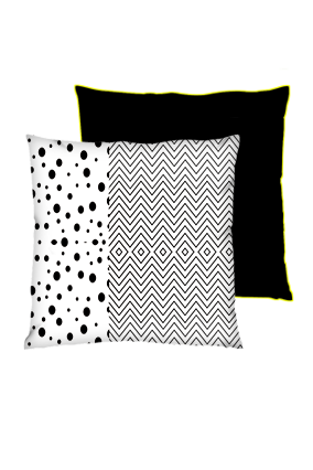 Line Pattern with Dotted Art Square Black With Yellow Piping Cushion
