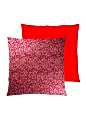 Seamless Floral Pattern Polyester Square Red Cushion