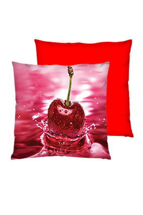Pink Cheery with water Splash Polyester Square Red Cushion