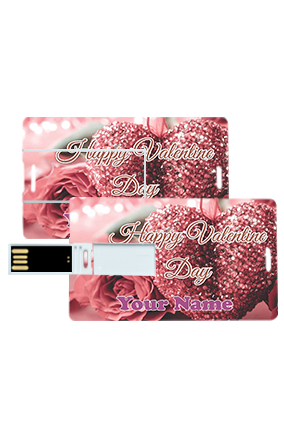 Glittering Heart Design Valentine's Day Credit Card Pen Drives