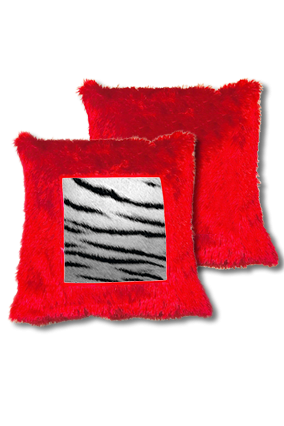 Silver Lion Fur Square Red Cushion