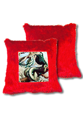 Fantasy Gaming Character Fur Square Red Cushion
