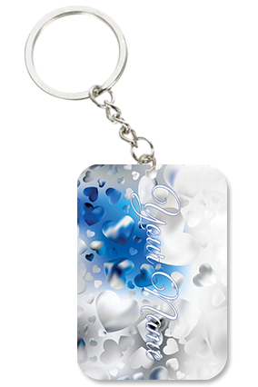 Blue And Silver Themed Square Keychain Valentine's Day Big Rectangle Keychain