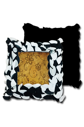 Line Floral Backgrond Polyester Square Black & White Petal Cushion