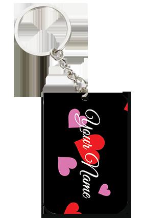 Black Themed Square Keychain Valentine's Day Big Rectangle Keychain