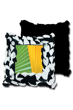 Yellow Green Leaves Design Polyester Square Black & White Petal Cushion