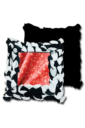 Red Cloth with Seamless Pattern Polyester Square Black & White Petal Cushion