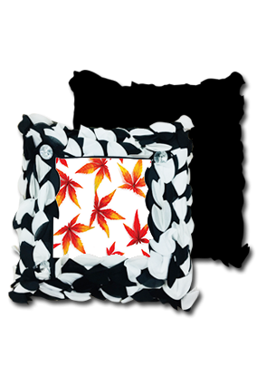Autum Leaves Background Polyester Square Black & White Petal Cushion