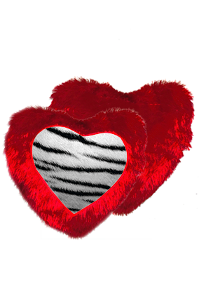 Silver Lion Fur Heart Shape Red Cushion