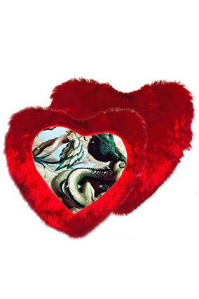 Fantasy Gaming Character Heart Shape Red Cushion