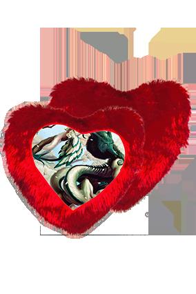 Fantasy Gaming Character Heart Shape Red Cushion