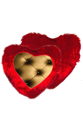 Goldish-Bronze Color Pillow Sheet Fur Heart Shape Red Cushion