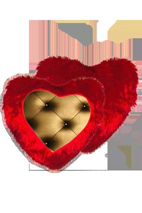 Goldish-Bronze Color Pillow Sheet Fur Heart Shape Red Cushion