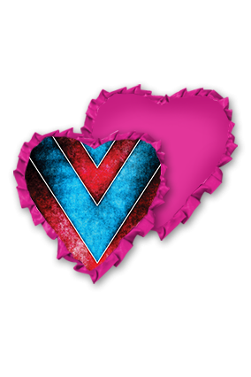 Blue background with Red Line Velvet Heart Shape Pink With Pink Ribbon Cushion