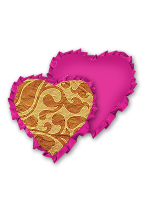 Golden Background With Brown Floral Pattern Velvet Heart Shape Pink With Pink Ribbon Cushion
