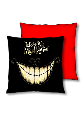 Evil Smile Polyester Square Red With Black Piping Cushion