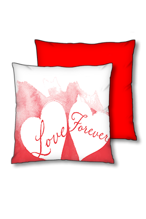 Love Forever Polyester Square Red With Black Piping Cushion